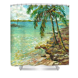 Palms On Point Of Rocks Shower Curtain by Lou Ann Bagnall