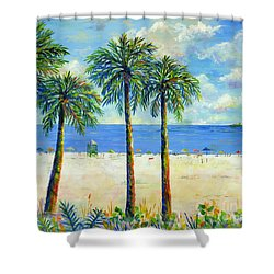 Palms On Siesta Key Beach Shower Curtain by Lou Ann Bagnall