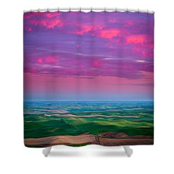 Palouse Fiery Dawn Shower Curtain by Inge Johnsson