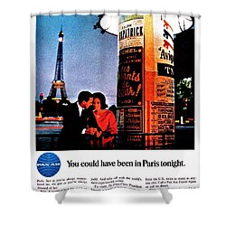 Pan Am To Paris Shower Curtain by Benjamin Yeager