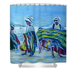 Shower Curtain featuring the painting Panama.beach Market by Anna  Duyunova