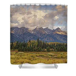 Shower Curtain featuring the photograph Panaroma Clearing Storm On A Fall Morning In Grand Tetons National Park by Dave Welling