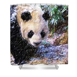 Panda Bear Walking In Forest Shower Curtain by Lanjee Chee
