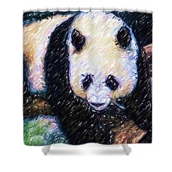 Panda In The Rest Shower Curtain by Lanjee Chee