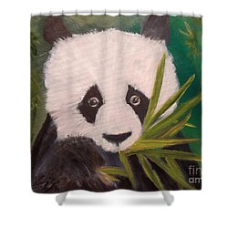 Shower Curtain featuring the painting Panda by Jenny Lee