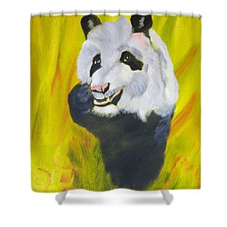 Shower Curtain featuring the painting Panda-monium by Meryl Goudey