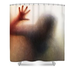 Panic Silhouette Shower Curtain by Carlos Caetano