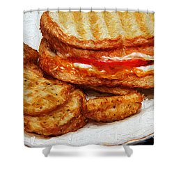 Shower Curtain featuring the photograph Panini Sandwich And Potato Wedges 3 by Andee Design