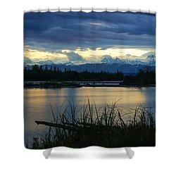 Pano Denali Midnight Sunset Shower Curtain