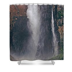 Panorama Angel Falls In Canaima National Park Venezuela Shower Curtain by Dave Welling