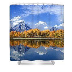 Panorama Fall Morning At Oxbow Bend Grand Tetons National Park Shower Curtain by Dave Welling