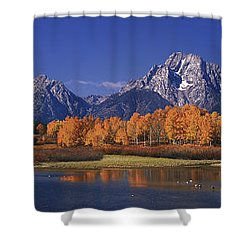 Shower Curtain featuring the photograph Panorama Fall Morning Oxbow Bend Grand Tetons National Park Wyoming by Dave Welling
