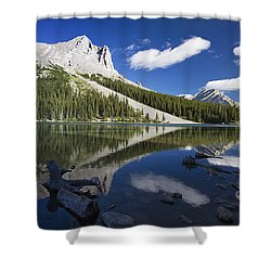 Panorama Of A Mountains Reflecting On A Shower Curtain by Michael Interisano