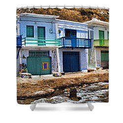 Panorama Of Tiny Colorful Fishing Huts In Milos Shower Curtain by David Smith