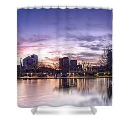 Panorama Of Downtown Austin At Dawn From The Long Center For Performing Arts - Texas Hill Country Shower Curtain by Silvio Ligutti