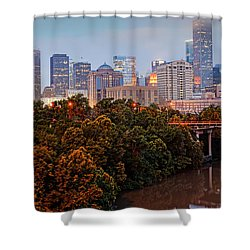 Panorama Of Downtown Houston At Dawn - Texas Shower Curtain