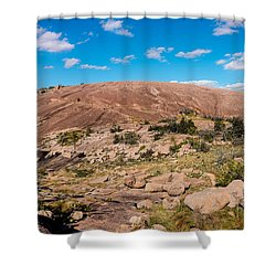 Panorama Of Enchanted Rock State Natural Area - Fredericksburg Texas Hill Country Shower Curtain