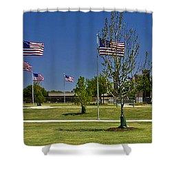 Shower Curtain featuring the photograph Panorama Of Flags - Veterans Memorial Park by Allen Sheffield