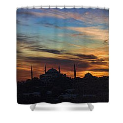 Panorama Of Istanbul Sunset- Call To Prayer Shower Curtain by David Smith
