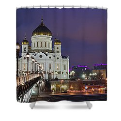 Panorama Of Moscow Cathedral Of The Christ The Savior - Featured 3 Shower Curtain by Alexander Senin