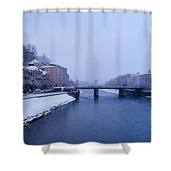 Panorama Of Salzburg In The Winter Shower Curtain by Sabine Jacobs