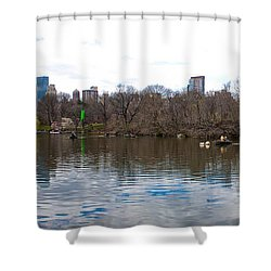 Panorama Of The Lake Of Central Park New York City Shower Curtain by Thomas Marchessault