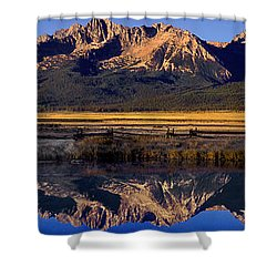 Panorama Reflections Sawtooth Mountains Nra Idaho Shower Curtain by Dave Welling