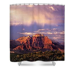 Panorama West Temple At Sunset Zion Natonal Park Shower Curtain by Dave Welling