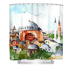 Shower Curtain featuring the painting Panoramic Hagia Sophia In Istanbul by Faruk Koksal