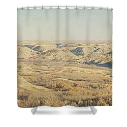 Panoramic Of The Badlands Of The Red Shower Curtain by Roberta Murray