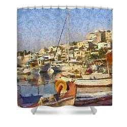 Panoramic Painting Of Mikrolimano Port Shower Curtain
