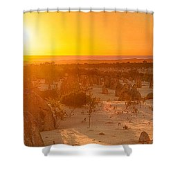 Shower Curtain featuring the photograph Panoramic Photo Of Sunset At The Pinnacles by Yew Kwang