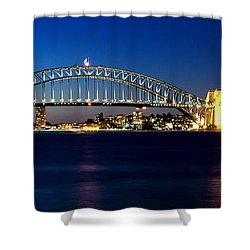 Shower Curtain featuring the photograph Panoramic Photo Of Sydney Night Scenery by Yew Kwang