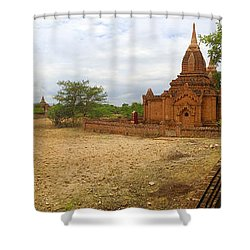 Shower Curtain featuring the photograph Panoramic View Next To Dhammayazika Pagoda Built In 1196 By King Narapatisithu by Ralph A  Ledergerber-Photography