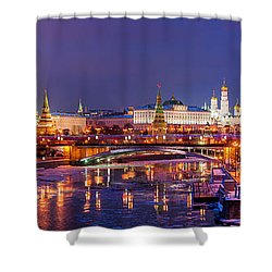 Panoramic View Of Moscow River And Moscow Kremlin  - Featured 3 Shower Curtain