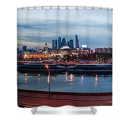 Panoramic View Of Moscow River - Kiev Railway Station And Square Of Europe - Featured 3 Shower Curtain by Alexander Senin