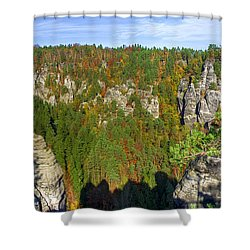 Panoramic View Of The Elbe Sandstone Mountains Shower Curtain