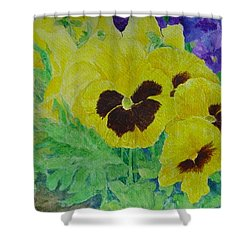 Pansies Colorful Flowers Floral Garden Art Painting Bright Yellow Pansy Original  Shower Curtain by Elizabeth Sawyer