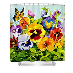 Pansies With Butterfly Shower Curtain by Janis Grau