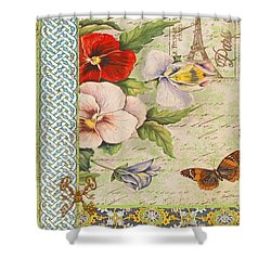 Pansy Garden-a Shower Curtain by Jean Plout