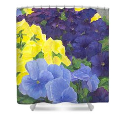 Pansy Garden Bright Colorful Flowers Painting Pansies Floral Art Artist K. Joann Russell Shower Curtain by Elizabeth Sawyer