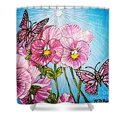 Shower Curtain featuring the painting Pansy Pinwheels And The Magical Butterflies With Blue Skies by Kimberlee Baxter