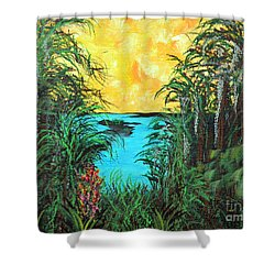 Shower Curtain featuring the painting Panther Island In The Bayou by Alys Caviness-Gober