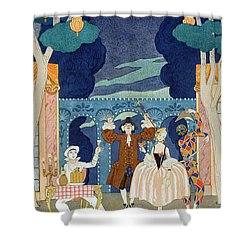 Pantomime Stage Shower Curtain by Georges Barbier