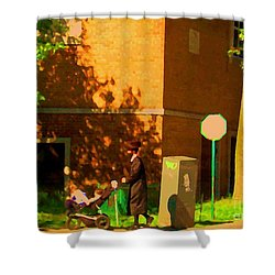 Papa And The Little Ones Sunday Afternoon Stroll On The Avenues Montreal City Scene Carole Spandau Shower Curtain by Carole Spandau