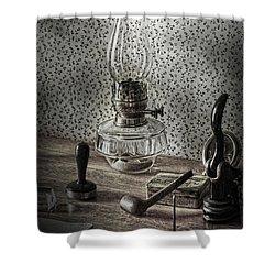 Papas Desks  Shower Curtain by The Artist Project