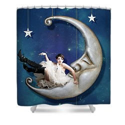 Shower Curtain featuring the digital art Paper Moon by Linda Lees
