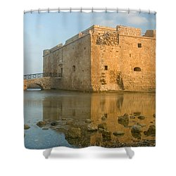 Paphos Harbour Castle Shower Curtain by Jeremy Voisey