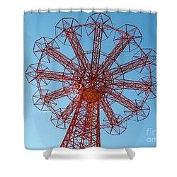 Shower Curtain featuring the photograph Parachute Jump-coney Island by Ed Weidman