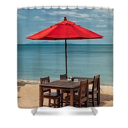 Paradise Dining Shower Curtain by Adrian Evans